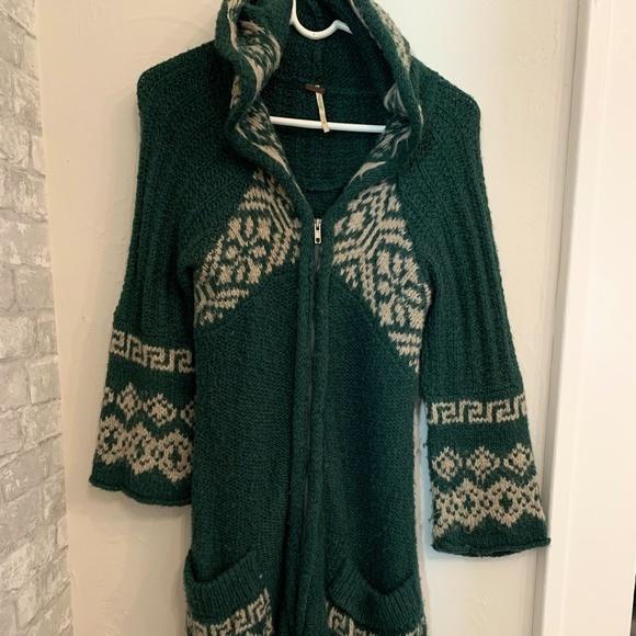 Free People Sweaters - Vintage Free People long zip knit hoodie sweater